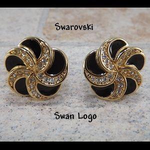 Swarovski Swan Logo Gold Plated Vintage Earrings